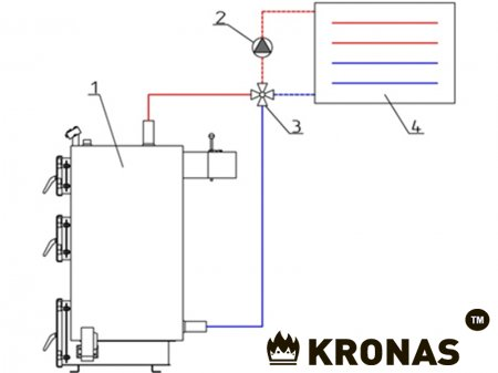 Через 4-ходовой клапан (до 50 кВт)